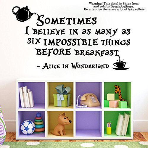 Wall Decals Quote Sometimes I Believe Decal Lewis Carroll Quotes Alice In Wonderland Sticker Kids Bedroom Nursery Home Decor Kitchen Art Mural SM56 (Alice Window Decal compare prices)