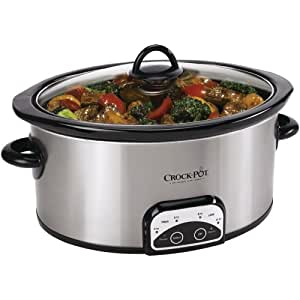 Crock-Pot SCCPVP600-S 6-Quart Smart-Pot Oval Slow Cooker, Stainless Steel