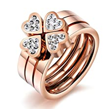 buy Virgin Shine Gold Plated Stainless Steel Four Rhinestones Hearts Engagement Womens Ring,Size 6