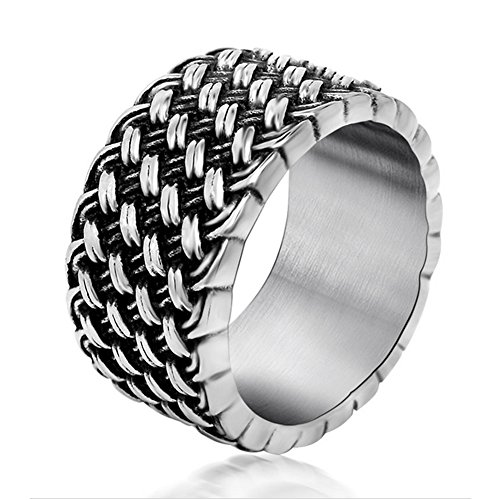 Chryssa Youree Men's Retro Design Jewelry Wedding Band Woven Titanium Steel Silver Rings 7 to 12(DJZ-1) (size 7)