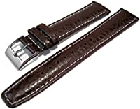 Dark Brown Buffalo Grain Genuine Leather Padded Watch Strap Band 18mm