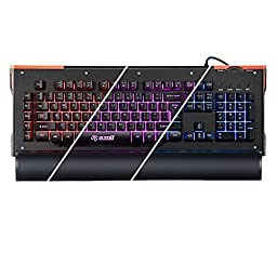 gCrusader USB Half Mechanical Backlit Gaming Keyboard with Multi Color LED Illuminated and Macro Enabled Rotary Dial (Black) for FPS
