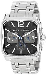 Vince Camuto Men's VC/1025DGSV The Sergeant Square Silver-Tone Multi-Function Bracelet Watch