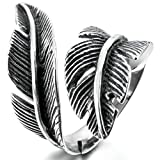 Epinki,Fashion Jewelry Men Women's Stainless Steel Rings Black Silver Feather Vintage Size 10