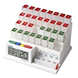 MedCenter (70265) 31 Day Pill Organizer with Reminder System (Color: White, Clear, Red, Green)