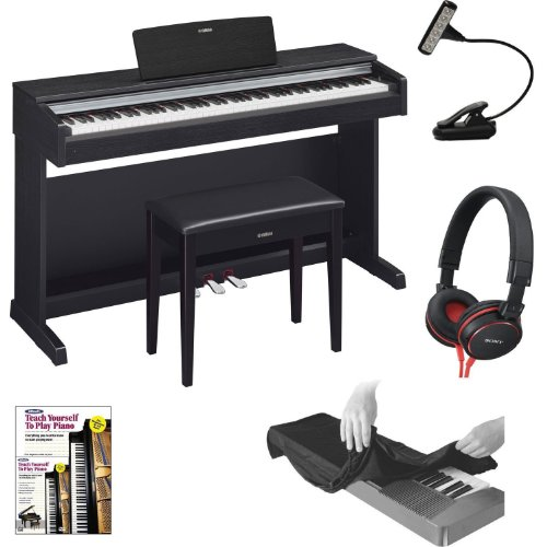 Yamaha Ydp142B Arius Series Traditional Console Digital Piano With Bench In Black Walnut With Music Book Light, 88-Key Dust Cover Black, Headphones And Alfred'S Teach Yourself To Play Piano - Book + Dvd