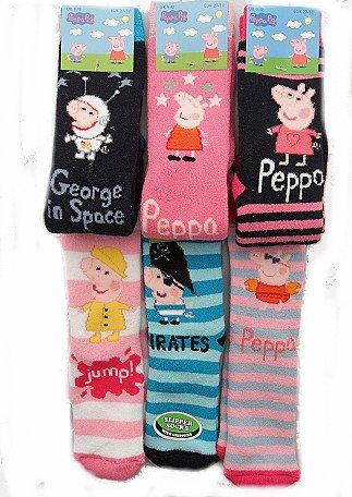 6 Pairs Peppa Pig Girls Non Skid Slipper Socks