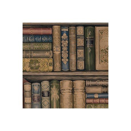 wallpaper-designer-library-book-bookshelves-brown-green-red-gold-black-blue-books