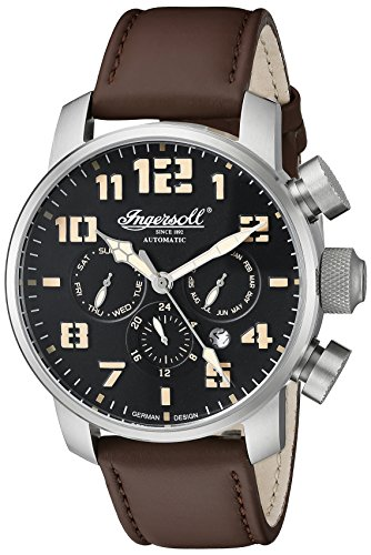 Ingersoll Unisex Automatic Watch with Black Dial Analogue Display and Brown Leather Strap IN1224SBK