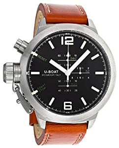 U-Boat Black Dial Chronograph Brown Leather Mens Watch 304