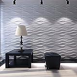 Art3d Decorative 3D Wavy Wall Panel Design Pack of 12 Tiles 32 Sq Ft (Plant Fiber)