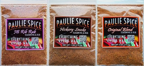 Paulie Spice : BBQ Seasoning And Rub Trio Set (3 Flavors) : Sweet And Smoky Rib Rub And BBQ Seasoning : Sweet Hickory Smoke BBQ Seasoning Rub And Original Blend BBQ Seasoning And Rub : Amazing On Ribs, Pork, Prime Rib, Steak, Chicken, Seafood And Fish