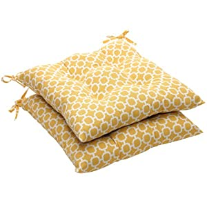 Pillow+Perfect Pillow Perfect Indoor/Outdoor Yellow/White Geometric Tufted Seat Cushion, 2-Pack