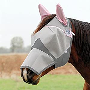 :Cashel Crusader Fly Mask, Covers Nose and Ears, (Pink Ears), Some Proceeds go to Breast Cancer Research, for Standard Horse