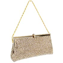Hot Sale MG Collection Gold Crystal Rhinestone Clasp Soft Baguette Evening Clutch Handbag