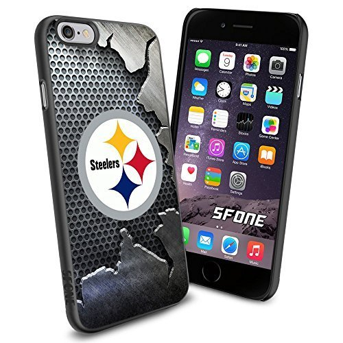 Pittsburgh Steelers Team Crack Metal Iron BG Logo iPhone 6 4.7 inch Case Black Rubber Cover Protector from WADE CASE