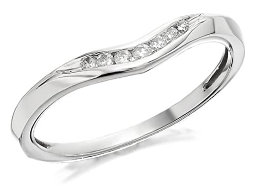 F. Hinds Womens Ladies Jewellery 9ct White Gold Diamond Wishbone Ring - 7pts