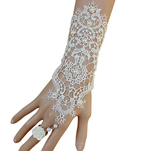 Women's Ivory Pearl White Lace Wedding Bride Bridal Gloves Ring Bracelet