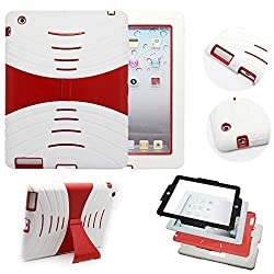 iPad Case, iPad 2 ipad 3 ipad 4 Case Heavy Duty Shockproof Drop Resistance Rugged Silicone + Plastic 2 Layer Hybrid Defender Super Protection Case and Built-in Kickstand for Apple iPad 2&3&4 (White/Red)