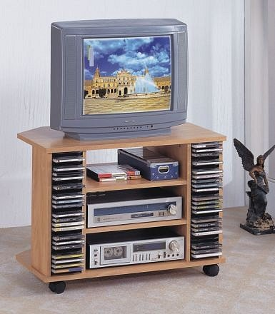 Cheap Corner Style Natural Finish Wood TV Stand with CD Rack on Casters (PONDF4403)