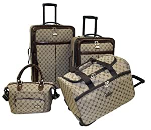 American Flyer AF Signature 4-Piece Luggage Set, Brown