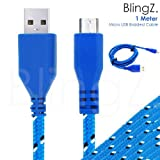 TheBlingZ.® 1M meter Micro USB Strong Braided Data Sync Charger Cable for Nokia HTC Blackberry Samsung Galaxy S S2 S3 S4 Note 2 ACE mini - Blue