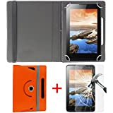 "Hello Zone Exclusive 360° Rotating 7"" Inch Flip Case Cover + Free Tempered Glass For I KALL N5 4G VOLTE Calling..."