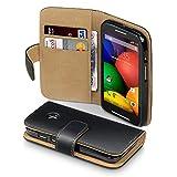 Terrapin Premium di cuoio del raccoglitore per Motorola Moto E, Colore: Nero, Bruna