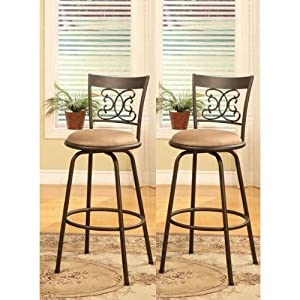 Metal swivel counter height bar stools set of 2 kitchen amp dining
