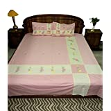 Amita's Home Furnishing Pink Color Embroided & Patch Work Bed Linen
