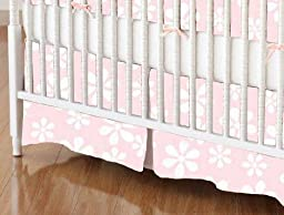 SheetWorld - Crib Skirt (28 x 52) - Pastel Pink Floral Woven - Made In USA