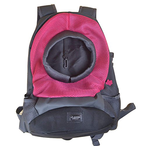 Ximei Portable Dog Cat Pet Backpack Carrier Bag for Outdoor Travel Medium and Small (M, Rose Red)