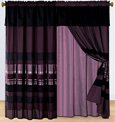 4 Piece Eggplant Purple Black Silver Stripe Chenille Curtain Set With Attached Valance And