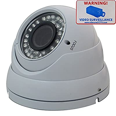 eSecure ES185380 CCTV Camera - 1200TVL Sony IMX238 HD Day Night Vision 2.8-12mm VariFocal Lens 36 IR Led Indoor Outdoor Home Security Surveillance Aluminum Dome Camera (White)