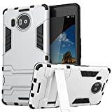 Lumia 950XL Case, CASEPLAY Ultra Slim Microsoft Lumia 950 XL Case, Protective Hybrid Armor Cover with Advanced Shock Absorption Protection & KickStand for Microsoft Lumia 950XL XL (Nokia) (Silver)