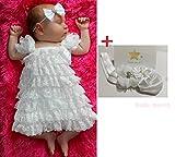 Smile march (スマイルマーチ) <女の子 可愛い ベビー ドレス > ホワイト レース リボン 新生児 記念 写真 プレゼント 祝い a109 (S) ランキングお取り寄せ