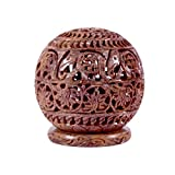 Avinash Handicrafts Soap Stone Carved Candle Lamp Ball Shape (11.5cm X11.5cm X12.5cm)