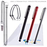 "3-Pack of Premium Large 5.3"" Universal Capacitive Stylus Touch Screen Pen With 2x2 Detachable Tether Strings / Lanyards, The Friendly Swede Microfiber Cloth and Retail Packaging (Red Black Silver)"