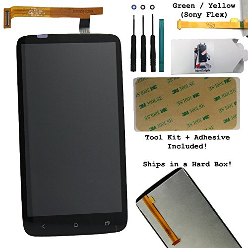 Lcd Display Touch Screen Glass Panel Digitizer Assembly Repair Part For Htc One X Xl Green + Yellow Flex Sony Version At&T