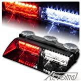 Xtreme® White & Red 16 LED High Intensity LED Law Enforcement Emergency Hazard Warning Strobe Lights For Interior Roof / Dash / Windshield With Suction Cups