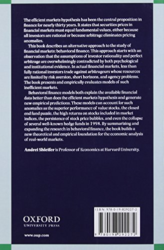 Inefficient Markets: An Introduction to Behavioral Finance (Clarendon Lectures in Economics)