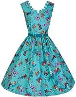 Lindy Bop 'Daria' 1950's Turquoise Papillon été Prairie Swing Robe