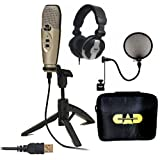 CAD U37 USB Studio Quality Recording Bundle Plug n' Play with Case Filter MH110 Headphones