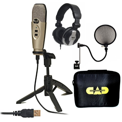 Cad U37 Usb Studio Quality Recording Bundle Plug N' Play With Case Filter Mh110 Headphones