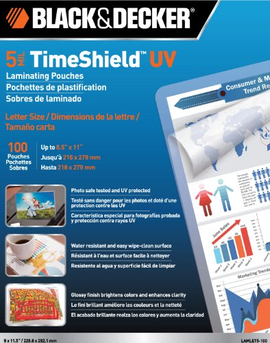 Black and Decker TimeShield UV Thermal Laminating Pouches, Letter, 5 mil - 100 Pack (LAMLET5-100)