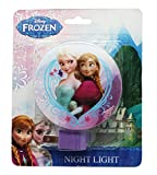 Purple Disney Frozen Anna and Elsa Plug In Night Light with Switch