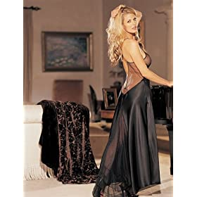 Charmeuse and sheer net long gown