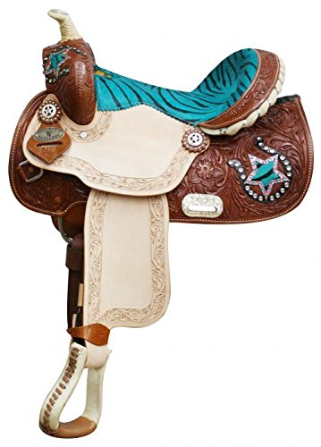 """Double T 13"""" Teal Turquoise Blue Zebra Print Leather Barrel Racing Saddle"""