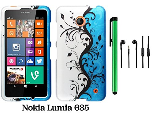 Nokia Lumia 635 (Us Carrier: T-Mobile, Metropcs, And At&T) Premium Pretty Design Protector Cover Case + 3.5Mm Stereo Earphones + 1 Of New Assorted Color Metal Stylus Touch Screen Pen (Blue Silver Black Vine Swirl)