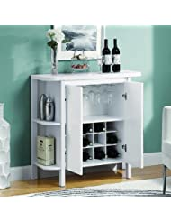 Monarch Bar Unit with Bottle and Glass Storage, 36-Inch, White by Monarch